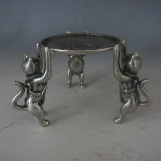 Chinese Silver Bronze Handwork Plate W 3 Cats photo