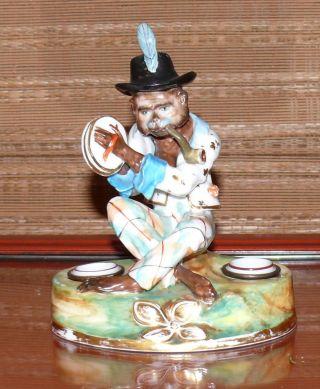 Antique Meissen Monkey Double Inkwell Porcelain Figurine photo
