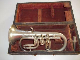 Vintage Antique Cornet C.  1880s Quinby Bros.  German Silver photo