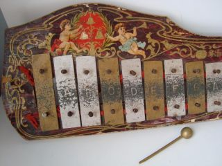 Antique Victorian Schoenhut Toy Xylophone For Dolls Children Paper Lithograph photo