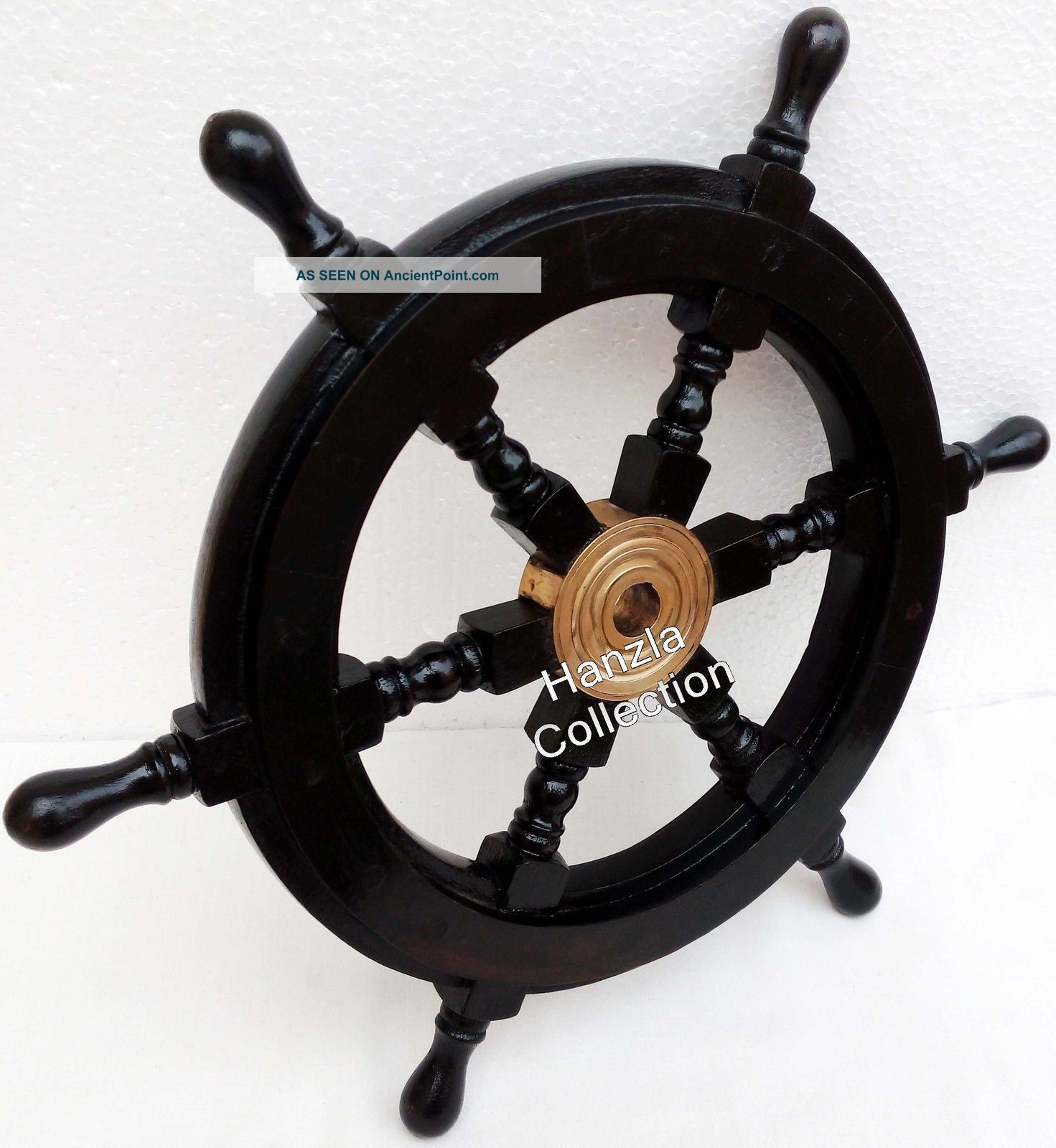 Nautical Wooden Ship Wheel Pirate Captain Brass Boat Steering Home Wall Decor Other Maritime Antiques photo