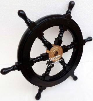Nautical Wooden Ship Wheel Pirate Captain Brass Boat Steering Home Wall Decor photo