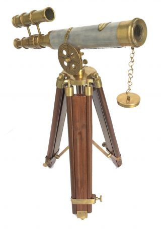 Antique Nautical Brass Leather Double Barrel Telescope Vintage Wooden Stand photo