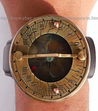 Antique Style Brass Leather Wrist Sundial Compass. photo