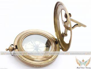 Nautical Maritime West London Stempunk Brass Sundial Compass Push Button Pirate photo