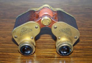 Antique C.  P.  Goerz 3 - 1/3x Fago Trieder Binocle Leather Wrapped Brass Binoculars photo