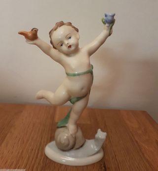 Ilmenau,  Metzler & Ortloff Figurine Boy With Snail And Bird Germany photo