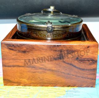 Antique Brass Map Reader Magnifier Compass With Rose Wood Box Maritime Gifts 3