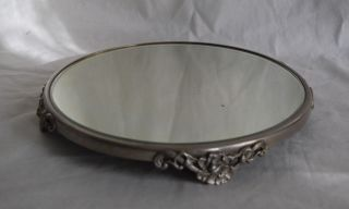 Antique Victorian Silver Plate Beveled Mirror Dresser Plateau photo
