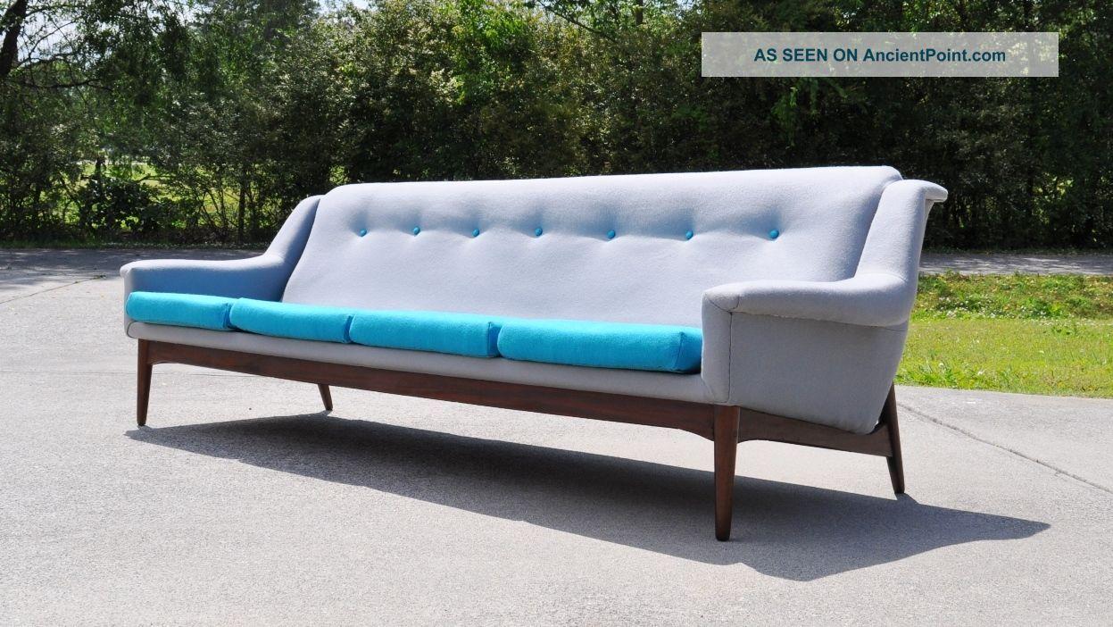 Mid Century Modern Danish Sofa Turquoise Grey Wool & Teak,  Label Made In Denmark Post-1950 photo