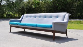 Mid Century Modern Danish Sofa Turquoise Grey Wool & Teak,  Label Made In Denmark photo