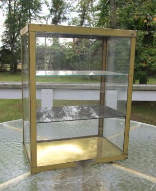 Small Shabby Vintage Machine Age Glass Steel Metal Display Case Cabinet photo