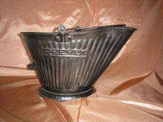 Vtg 17 Reeves Coal Pail Scuttle Hod,  Galvanized Steel?,  Bail Handle,  Primitive photo