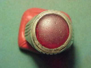 Near Eastern Hand Crafted Solid Silver Ring Garnet Stone 1700 - 1900 photo