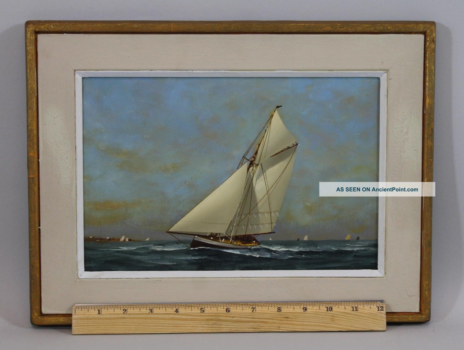 Small Vintage Vernon Broe Maritime Seascape Cape Cod Sailboat Oil Painting Other Maritime Antiques photo