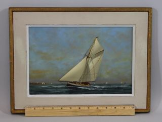 Small Vintage Vernon Broe Maritime Seascape Cape Cod Sailboat Oil Painting photo