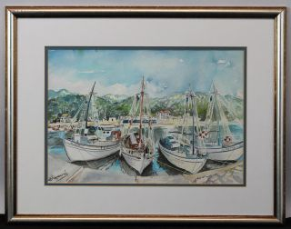 Signed Vintage Greek Greece Fishing Sailboat Harbor Watercolor Painting,  Nr photo