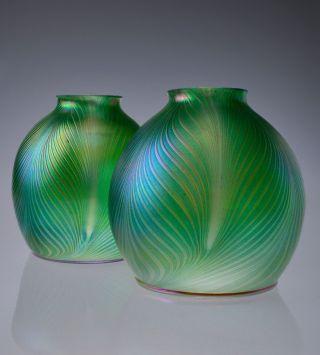 """Iridescent Hand Blown Art Nouveau Jugendstil Glass Lamp Shade 2.  25"""" Fitter photo"""