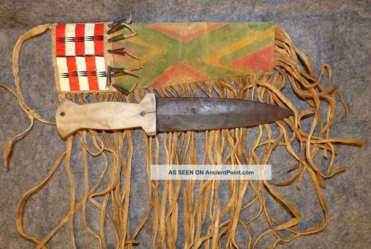 Sioux Indian Quilled Parfleche Sheath & Bone Dag Knife Tin Cones 1860s Native American photo