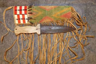 Sioux Indian Quilled Parfleche Sheath & Bone Dag Knife Tin Cones 1860s photo
