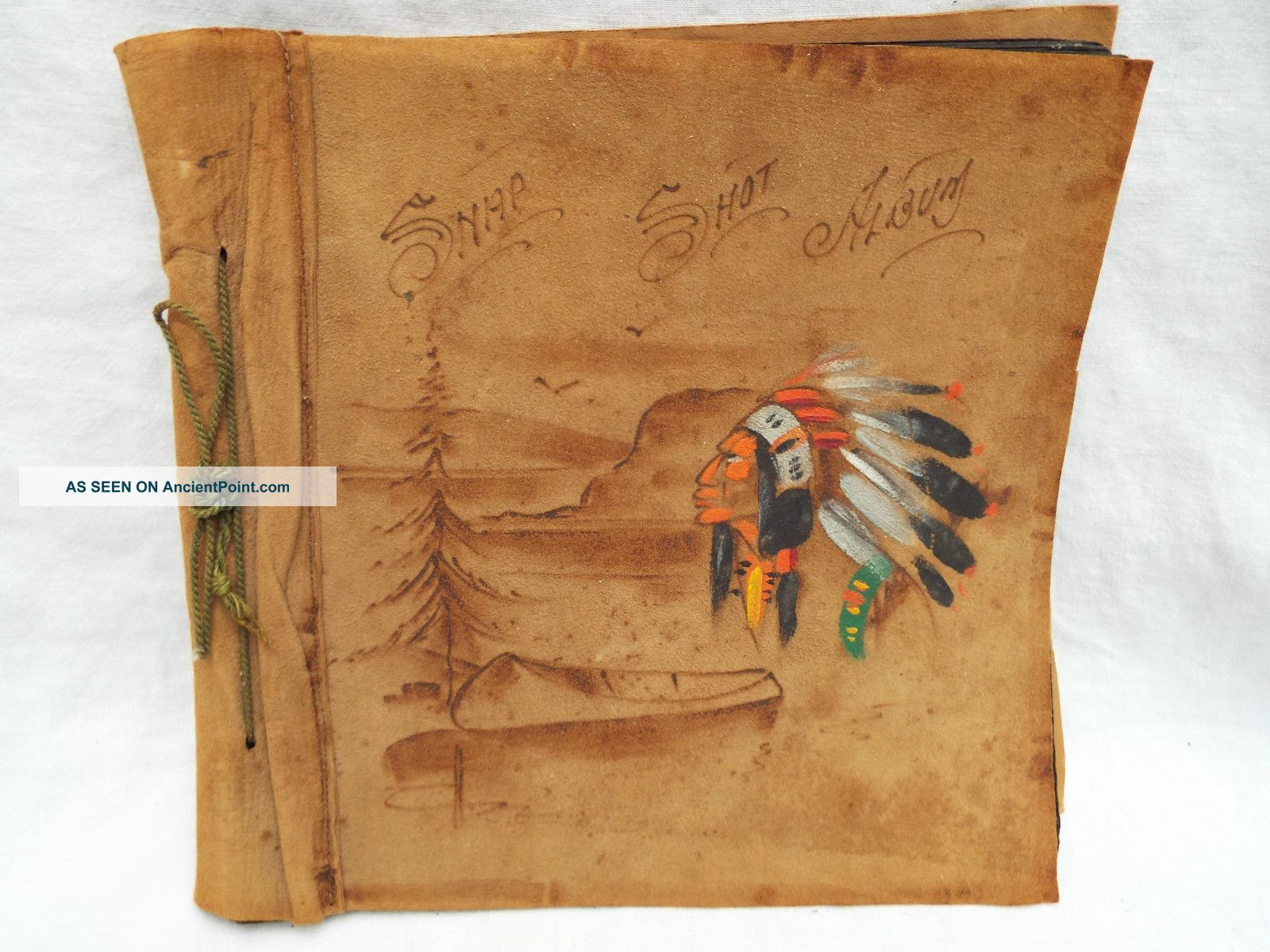 Vintage Native American Indian Leather Photo Album Scrapbook Hand Painted C1940 Native American photo