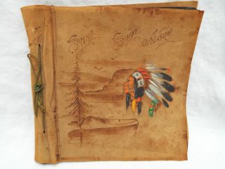 Vintage Native American Indian Leather Photo Album Scrapbook Hand Painted C1940 photo