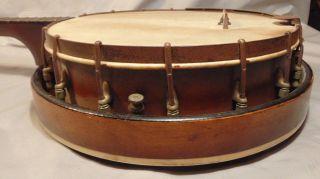 Antique 4 String Tenor Banjo Unbranded Solid Back Vintage Instrument photo