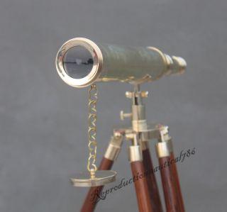 Navy Marine Solid Brass Telescope Vintage Spy Glass Balcony Telescope W/ Stand photo