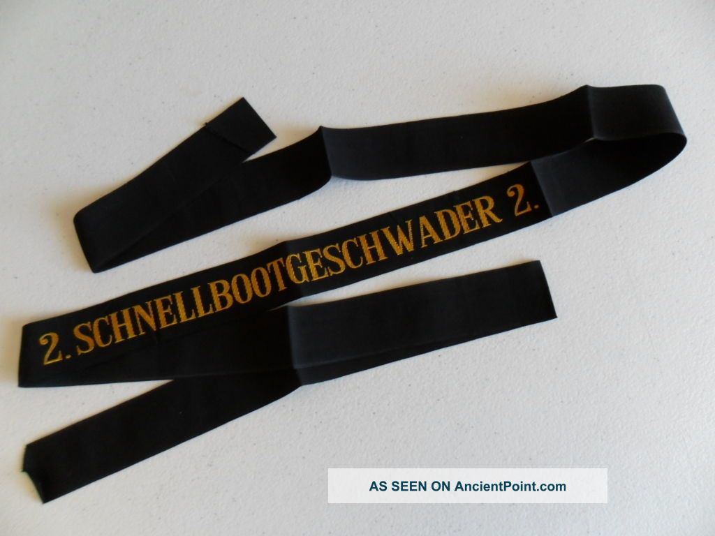 Naval,  German Navy Schnellbootgeshwader 2 Cap Ribbon / Tally 1960s Other Maritime Antiques photo