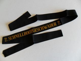 Naval,  German Navy Schnellbootgeshwader 2 Cap Ribbon / Tally 1960s photo