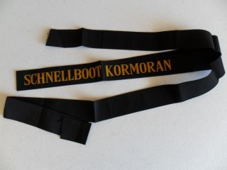 Naval,  German Navy Schnellboot Kormoran Cap Ribbon / Tally 1960s photo