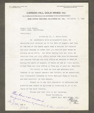 Gold Mines Carson Hill 1922 Letterhead Angels Camp Creek Calaveras County Mining photo