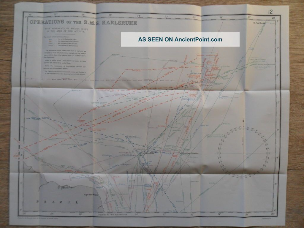 Naval / 1919 Chart Wwi Operations Of The Sms Karlsruhe Off Sth America 1914, Other Maritime Antiques photo