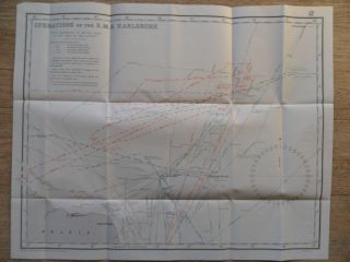 Naval / 1919 Chart Wwi Operations Of The Sms Karlsruhe Off Sth America 1914, photo