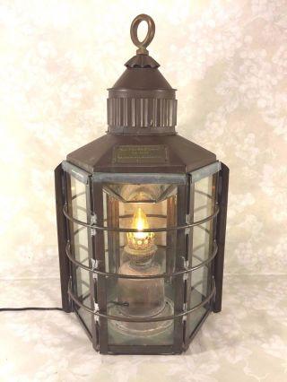 Antique Clipper Ship Lantern No 1255 Dumbarton Scotland 1859 W/ Yellow Bulb photo