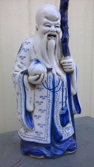China Antique Whiter And Blue Porcelain God Of Longevity photo