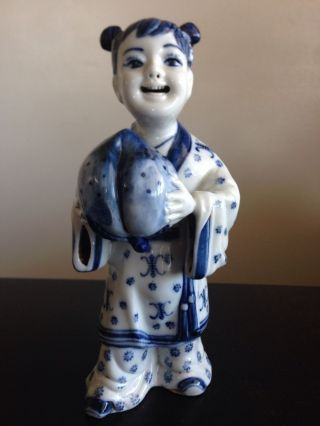 Fine Old Chinese Export Blue White Porcelain Girl Statue Peach Ball Unique Art photo