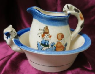 Antique Hand Painted Cat Handled Creamer & Matching Cereal Bowl C.  1945 Japan photo