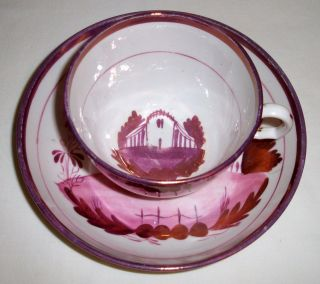 Antique Pink Luster Cup & Saucer photo