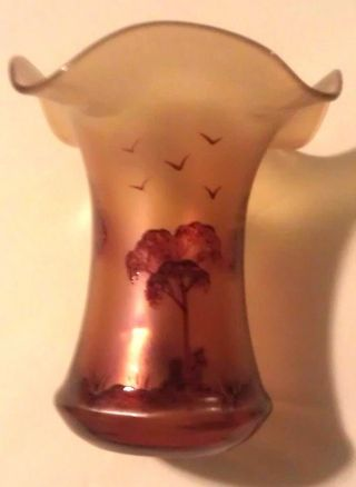 Antique/ Vintage Art Nouveau Purple Iredescent Glass Vase photo