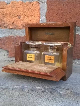 Rare Antique Chanel Perfume Bottles Burl Wood Display Travel Case 1920 ' S photo