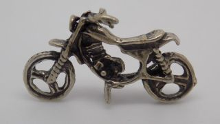 Vintage Solid Silver Motorcycle Miniature - Dollhouse - Stamped - Italian Made photo