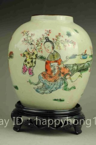 Chinese Old Famille Rose Porcelain Hand Painted Woman Child Porcelain Pot photo