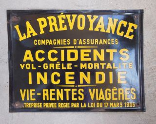 Antique Vintage French Enamel / Steel Porcelain Sign Plaque Insurance N2 photo
