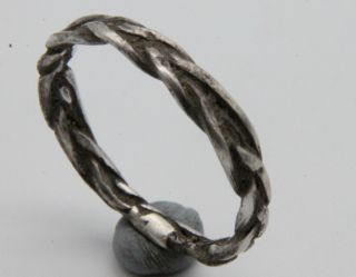 Ancient Viking Period Twisted Silver Knotted Ring Scandinavian Jewelry 1100 Ad photo