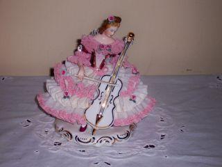 Fantastic Dresden Ladyfigurine Playing Musical Instrument 7