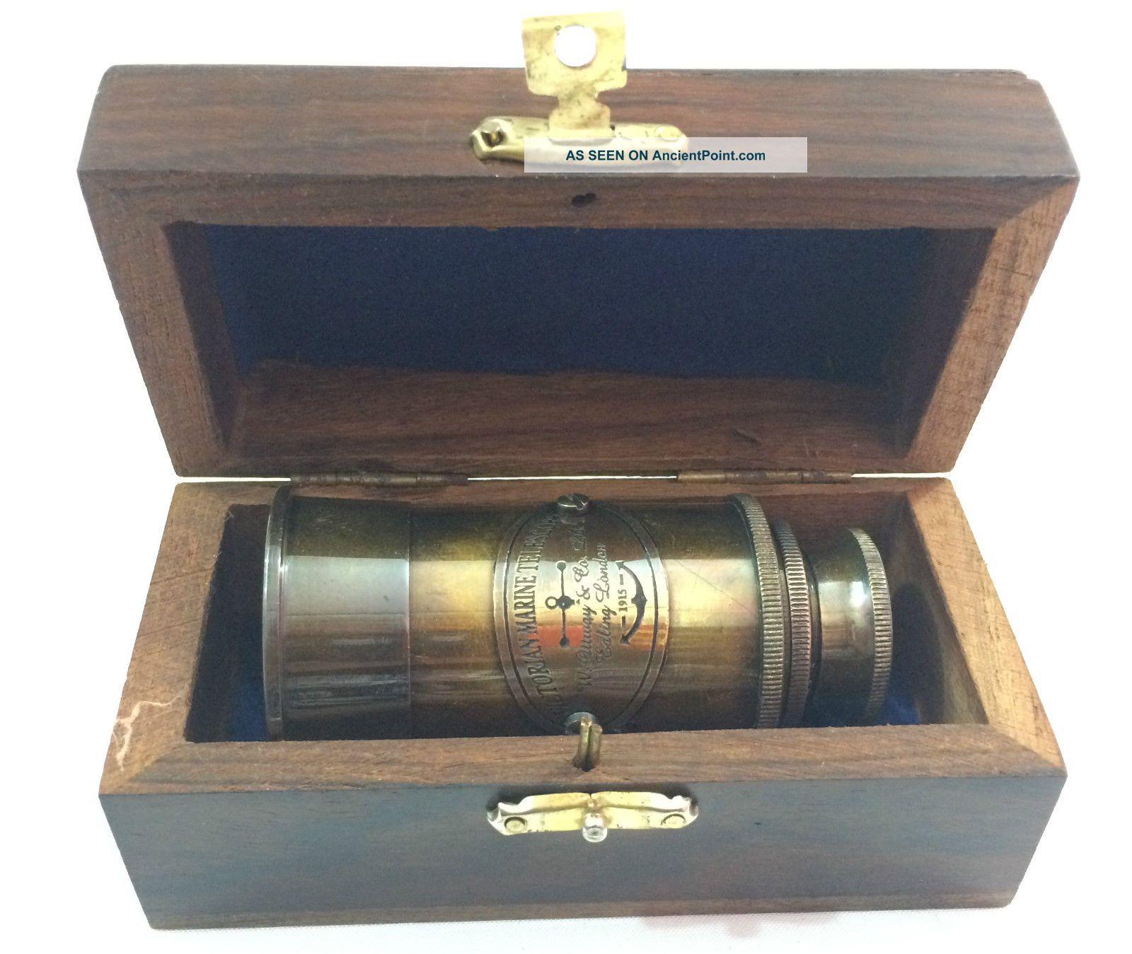 Vintage Antique Victorian Maritme Brass Telescope W Wooden Box Telescopes photo