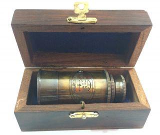 Vintage Antique Victorian Maritme Brass Telescope W Wooden Box photo