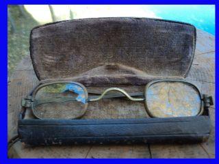 Antique Vintage Civil War Era Retractable Temples Eyeglasses & Case Steampunk photo
