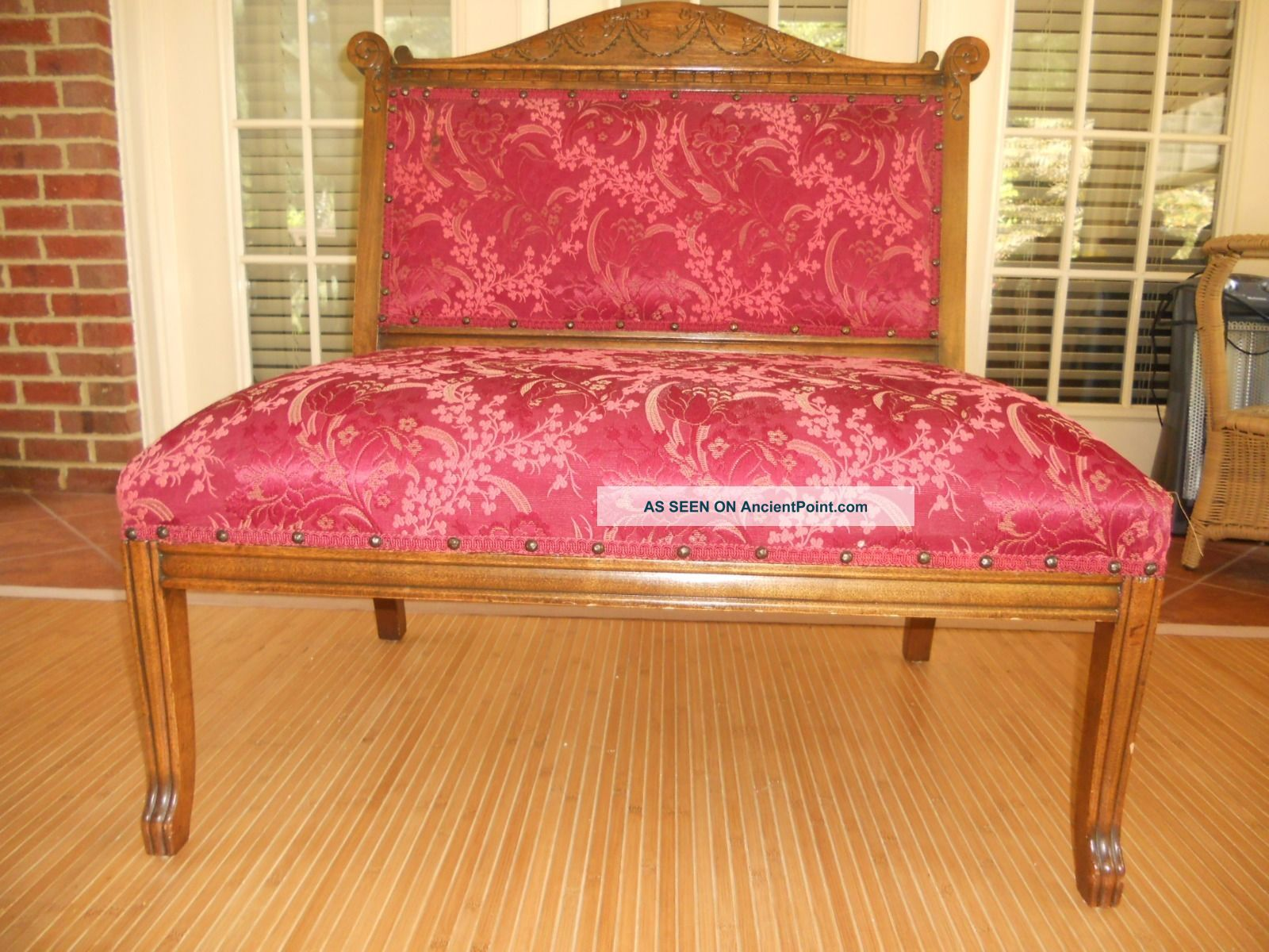 Vintage Armless Settee With Unique Ribbon And Bow Pattern Unknown photo